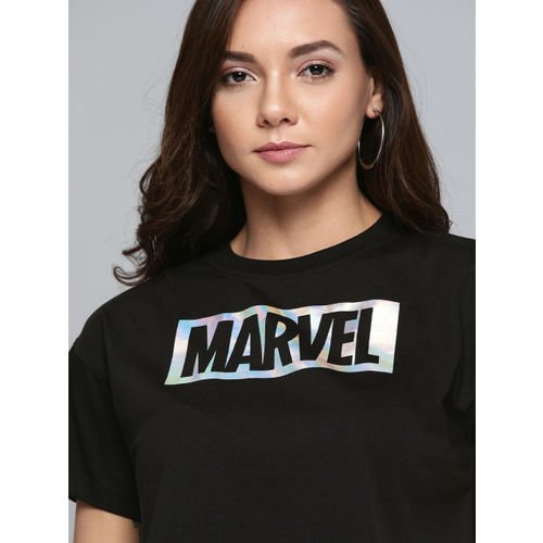 Kook N Keech Marvel Women Black & Silver Printed Round Neck T-shirt
