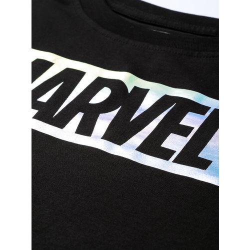 Kook N Keech Marvel Women Black & Silver Printed Round Neck T-shirt