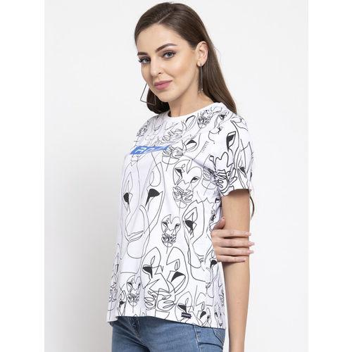 Disrupt Women White & Black Printed Round Neck T-shirt