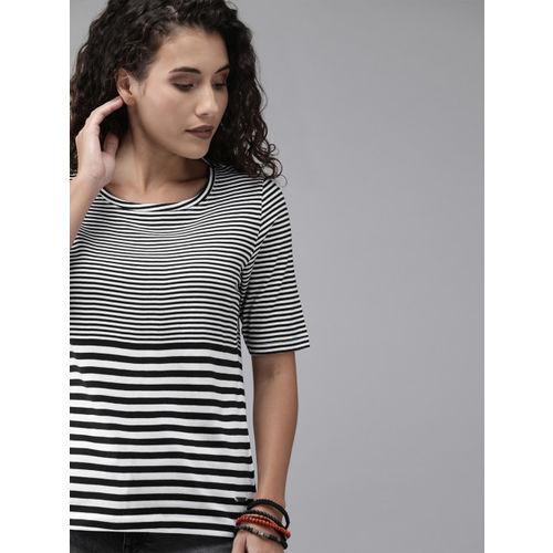 Roadster Women White & Black Striped Round Neck T-shirt