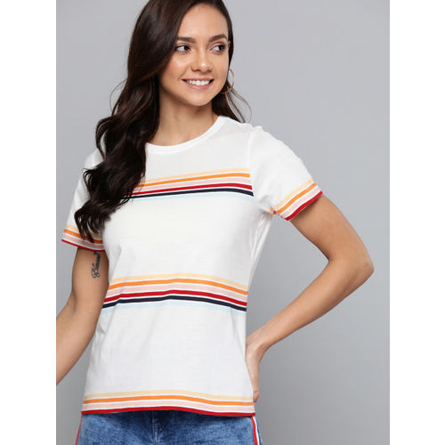 Mast & Harbour Women White & Peach-Coloured Striped Round Neck T-shirt
