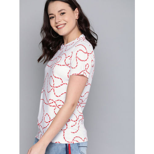 Mast & Harbour Women White & Red Printed Round Neck T-shirt