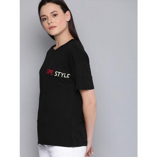 Harvard Women Black Back Printed Round Neck T-shirt