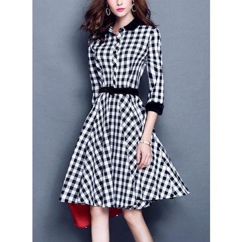 Westchic BLACK WHITE CHECK ASYMMETRIC Midi Dress
