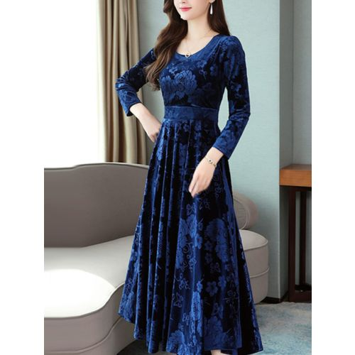 Velvet Navy Floral Printed A Line Dress by Westchic