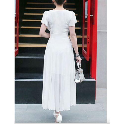 WC-1528 WHITE AZIZA Long Dress