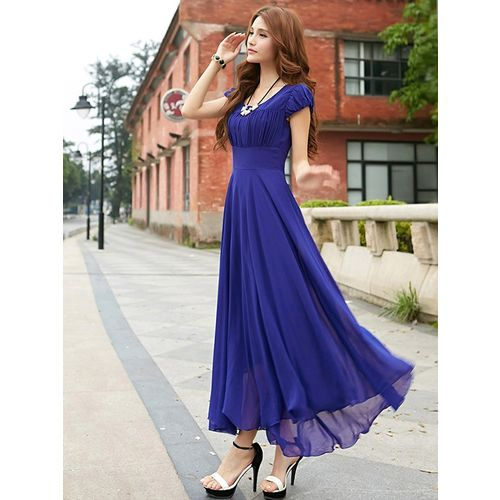 Rosella Royal Blue Long Dress with Cape Sleeve 11010