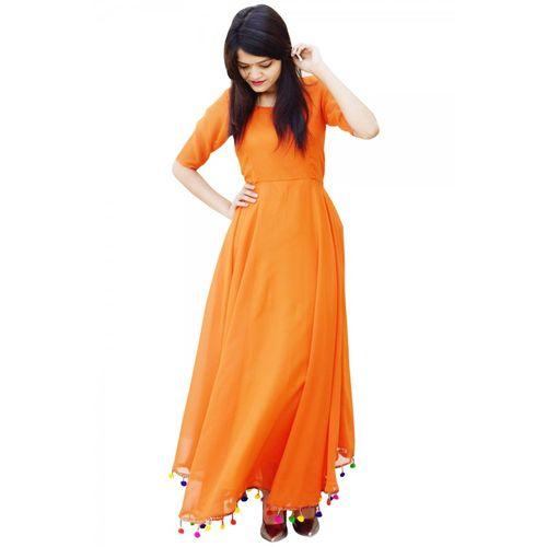 Raabta Fashion Raabta Orange Pom Pom Long dress