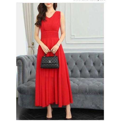 WC-1554 Westchic RED V-Neck (Belt) Long Dress
