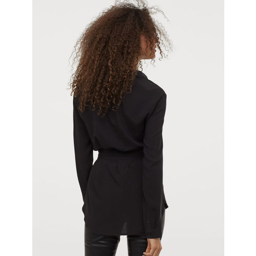 H&M Women Black Regular Fit Solid Belted Casual Shirt