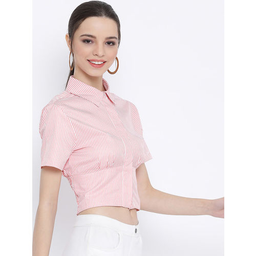 Oxolloxo Women Pink & White Regular Fit Striped Casual Shirt