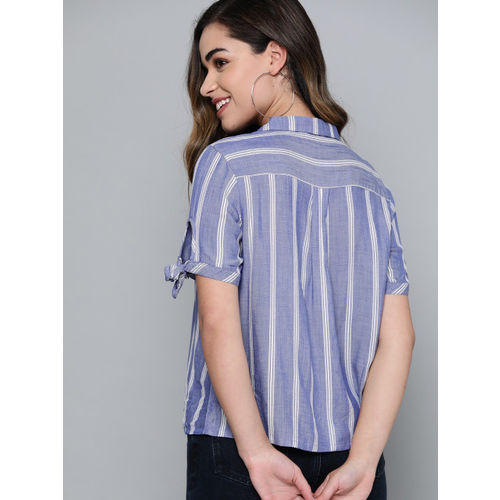 Mast & Harbour Women Blue & White Regular Fit Striped Casual Shirt