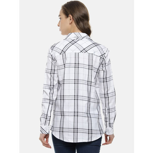 Campus Sutra Women White Classic Regular Fit Checked Casual Shirt