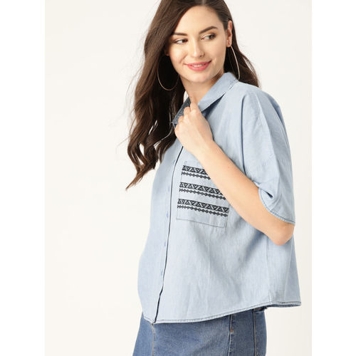 DressBerry Women Blue Boxy Solid Chambray Casual Shirt