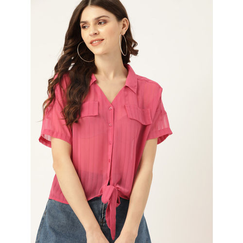 DressBerry Women Pink Sheer Self-Striped Casual Shirt