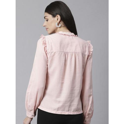 Marks & Spencer Women Pink Regular Fit Solid Smart Casual Shirt