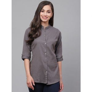 Vastraa Fusion Women Charcoal Grey Regular Fit Solid Casual Shirt