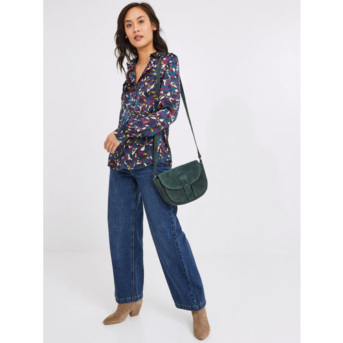promod Women Blue & Purple Regular Fit Abstract Printed Casual Shirt