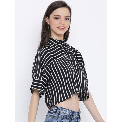 Oxolloxo Women Black & White Regular Fit Striped Casual Shirt