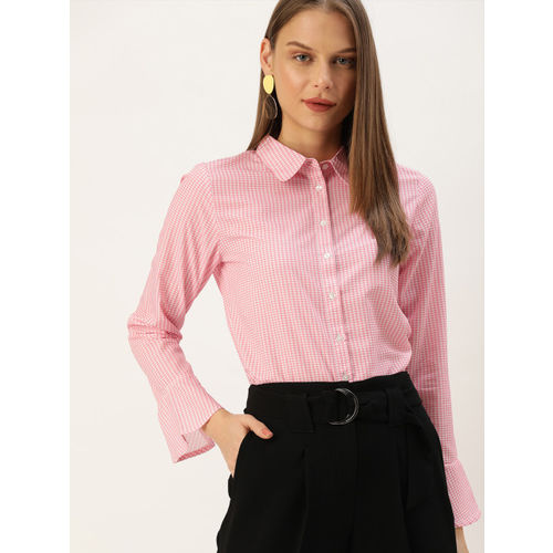 her by invictus Women Pink & White Regular Fit Checked Formal Shirt With Bell Sleeves