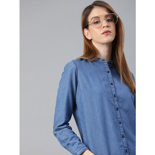 Lee Women Blue Regular Fit Solid Casual Chambray Shirt