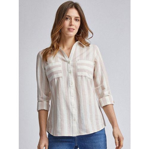 DOROTHY PERKINS Women White & Peach-Coloured Regular Fit Striped Casual Shirt