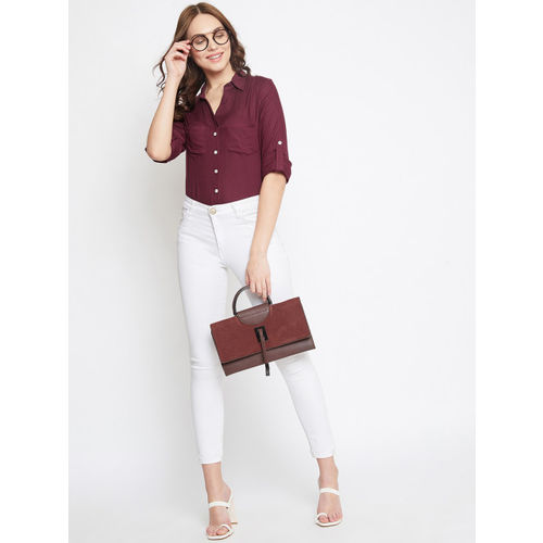 PURYS Women Burgundy Classic Tailored Fit Solid Formal Shirt