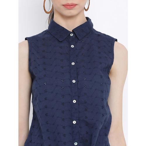Oxolloxo Women Navy Blue Regular Fit Self Design Casual Shirt