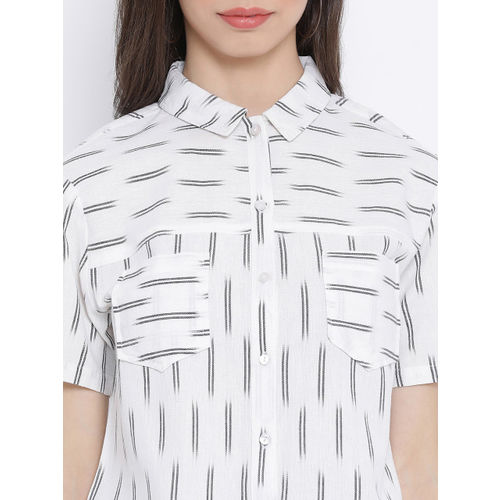 Oxolloxo Women White Regular Fit Striped Casual Shirt