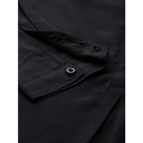 Lee Women Black Regular Fit Solid Casual Shirt