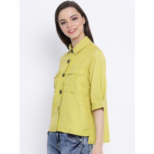 Oxolloxo Women Yellow Regular Fit Solid Casual Shirt