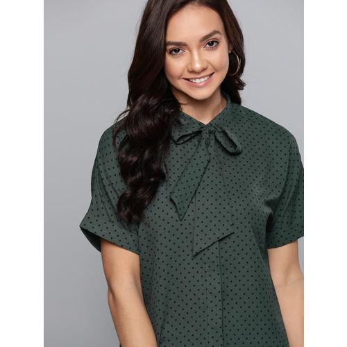 Mast & Harbour Women Green & Black Printed Casual Shirt