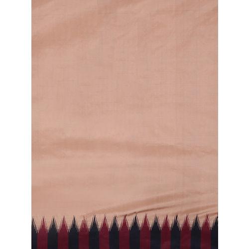 aamna Brown Solid Art Silk Saree