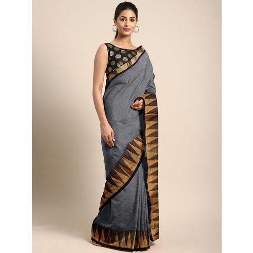 Pavechas Grey & Beige Pure Cotton Solid Venkatgiri Saree