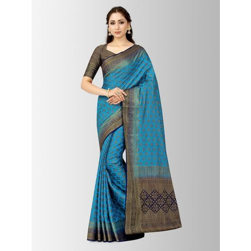 MIMOSA Blue Art Silk Woven Design Patola Saree