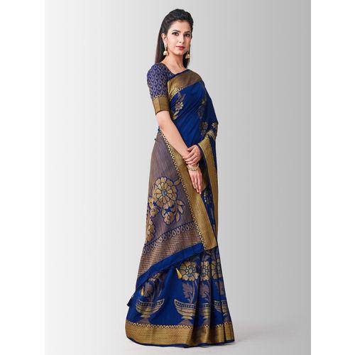 MIMOSA Navy Blue Art Silk Woven Design Kanjeevaram Saree
