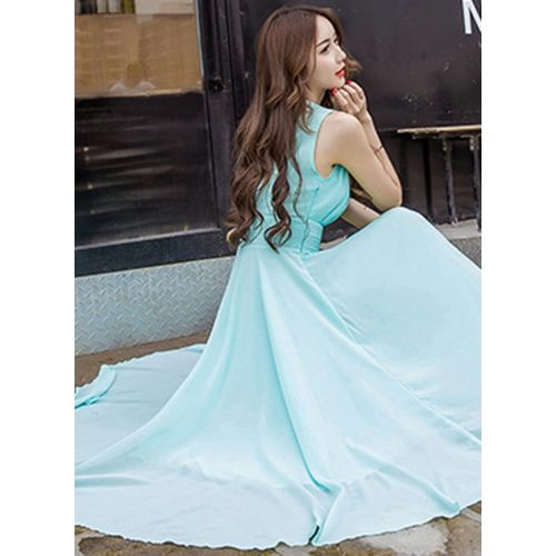 ANB-005 Westchic Sky Blue V-Neck Long Dress