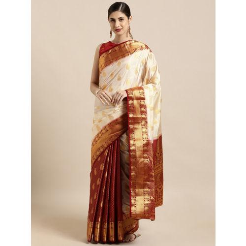 Mitera Off-White & Gold-Toned Art Silk Woven Design Kanjeevaram Saree