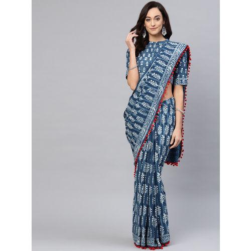 AKS Blue & Off-White Cotton Printed Saree