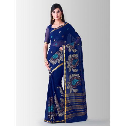 MIMOSA Navy Blue Poly Chiffon Embroidered Banarasi Saree