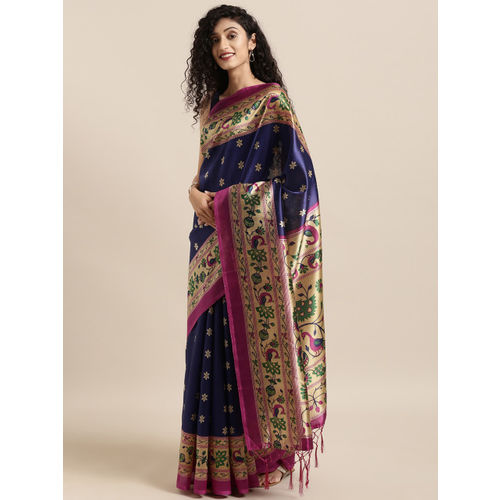 KALINI Navy Blue & Pink Art Silk Printed Mysore Silk Saree
