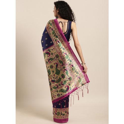 KALINI Navy Blue & Pink Art Silk Printed Mysore Silk Saree