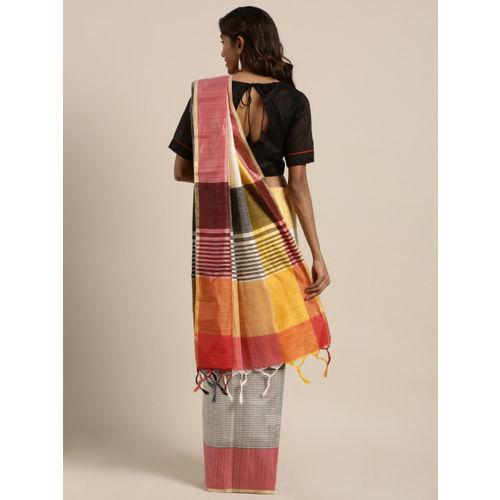 GoSriKi Women Multicoloured Silk Cotton Colourblocked Khadi Saree