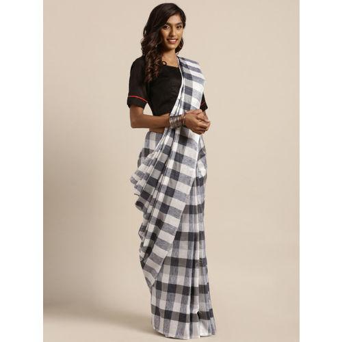 GoSriKi Black & White Cotton Blend Checked Saree