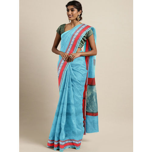 The Chennai Silks Classicate Blue Solid Pure Cotton Saree