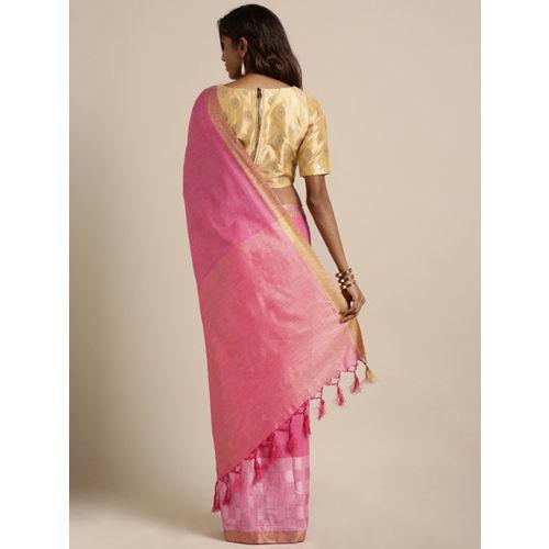 GoSriKi Pink Solid Cotton Blend Saree
