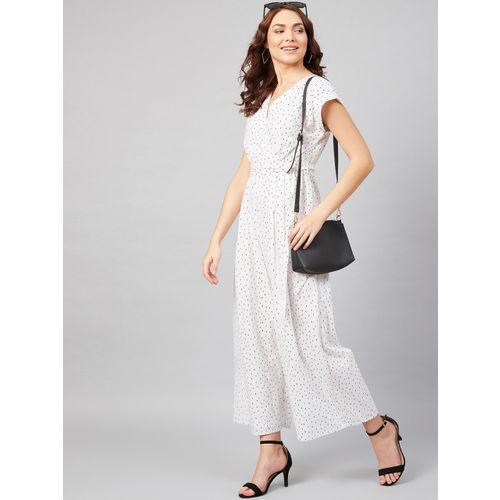 Femella Women White & Black Printed Culotte Jumpsuit