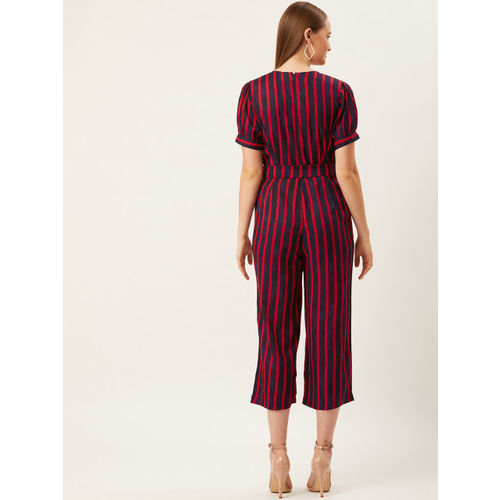 Alsace Lorraine Paris Women Navy Blue & Red Striped Basic Jumpsuit