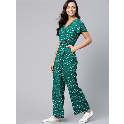 Mast & Harbour Women Green & White Floral Printed Basic Wrap Jumpsuit