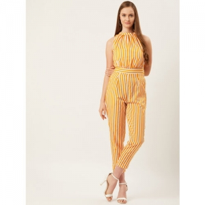 Alsace Lorraine Paris Women Mustard Yellow & Off-White Striped Cropped Basic Jumpsuit